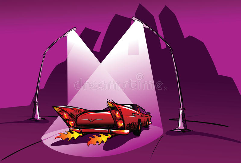 Download Red car, dark night stock vector. Illustration of chrome - 13140992