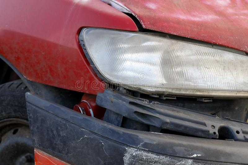 Red car involved in an accident royalty free stock photos