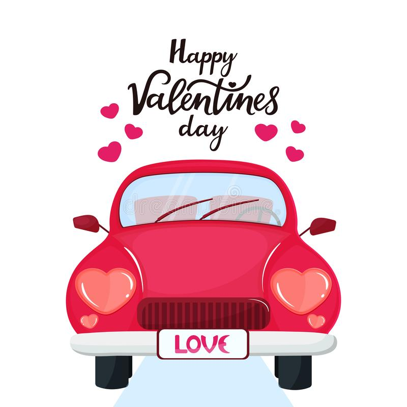 Red car with headlights in the shape of a heart. Happy Valentine`s Day hand drawn lettering.  stock illustration