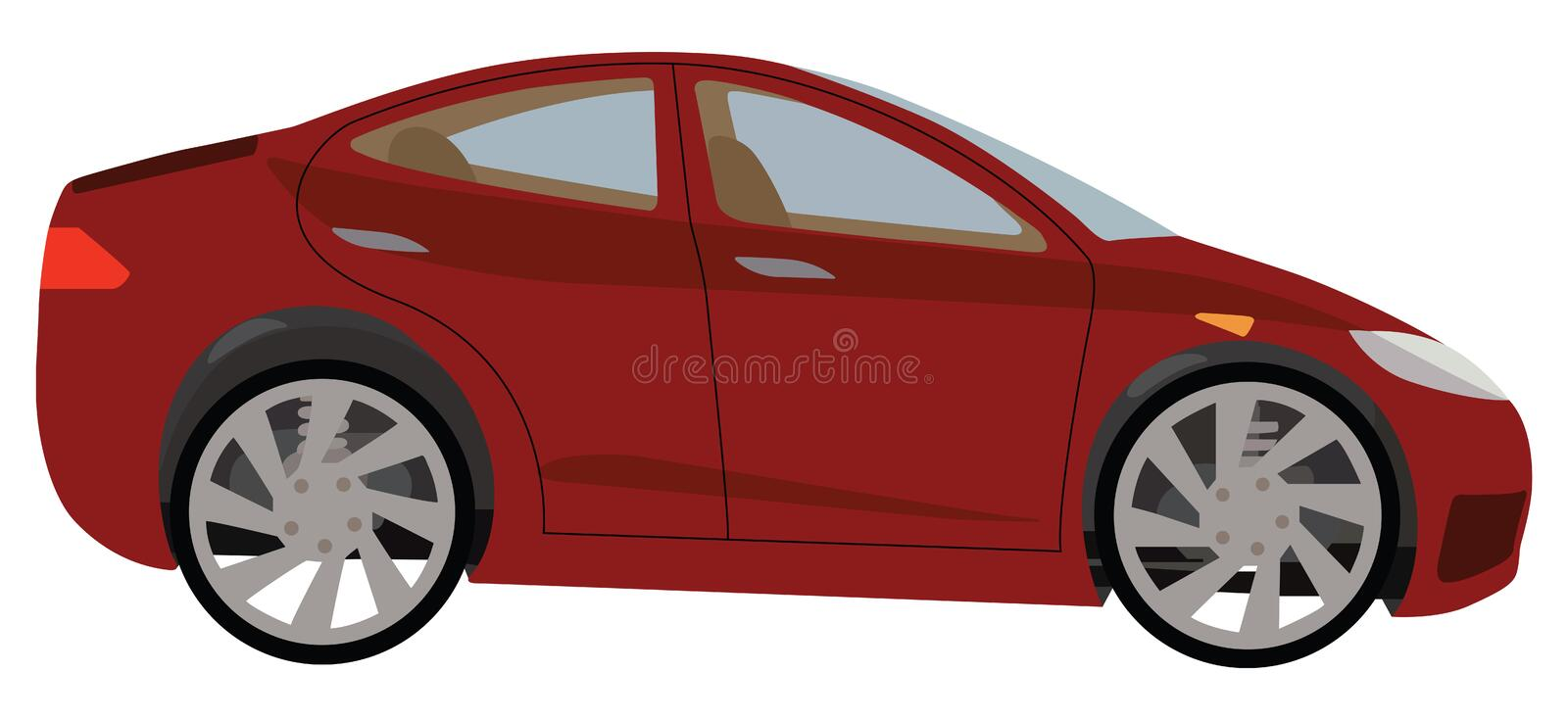 Red car. Illustration red car on a white background royalty free illustration