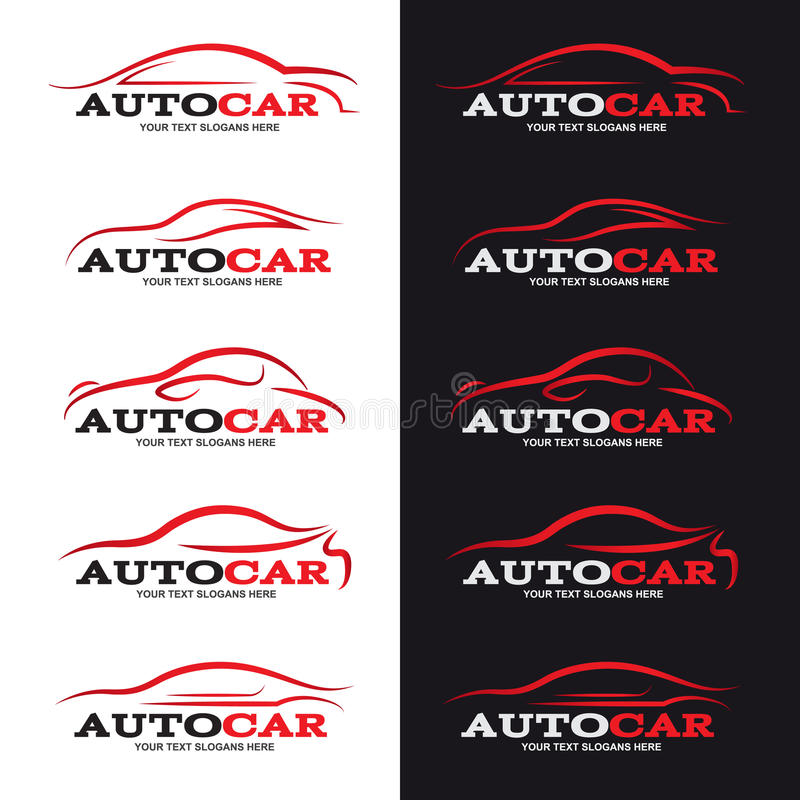 Red car line logo is 5 style in black and white background vector illustration