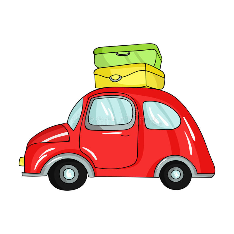 Red Car With A Luggage On The Roof Icon In Cartoon Style Isolated On