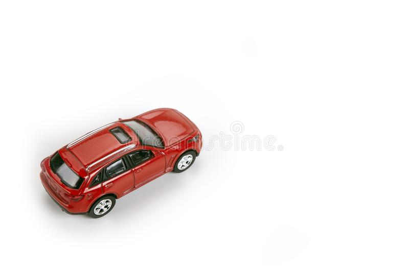 Red car model on a white background closeup. Red car model on a white background royalty free stock photography