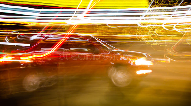 Red Car In Motion Royalty Free Stock Photo