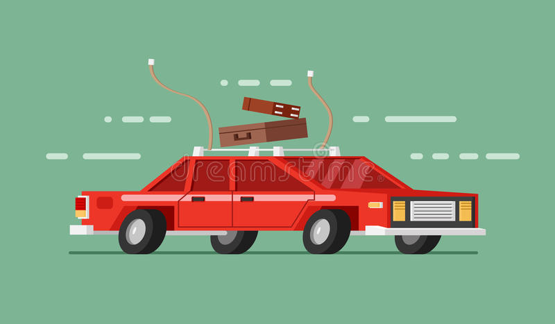 Red car in move with royalty free illustration