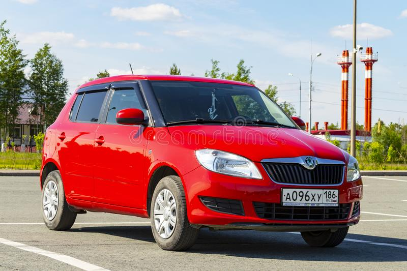 Red car parked. In Surgut, Russia - June 30, 2019 stock photo