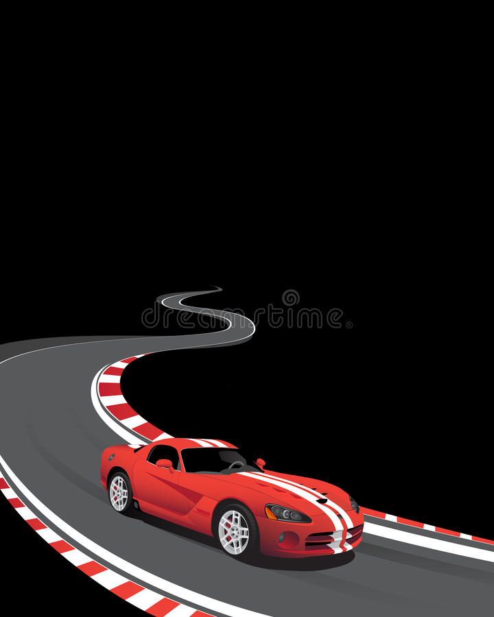 Download Red Car On The Racing Track Stock Vector - Image: 10655883