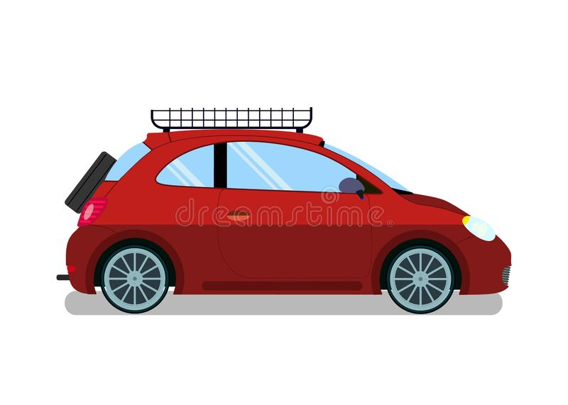 Red Car with Roof Rails Flat Vector Illustration. Micro Vehicle Model with Spare Wheel. Luggage Box on Automobile Top. Auto Baggage Transportation Equipment vector illustration