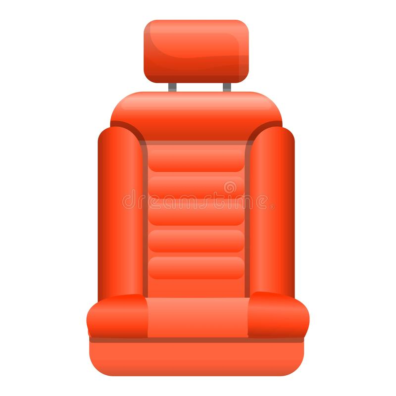 Red car seat icon, cartoon style. Red car seat icon. Cartoon of red car seat vector icon for web design isolated on white background stock illustration