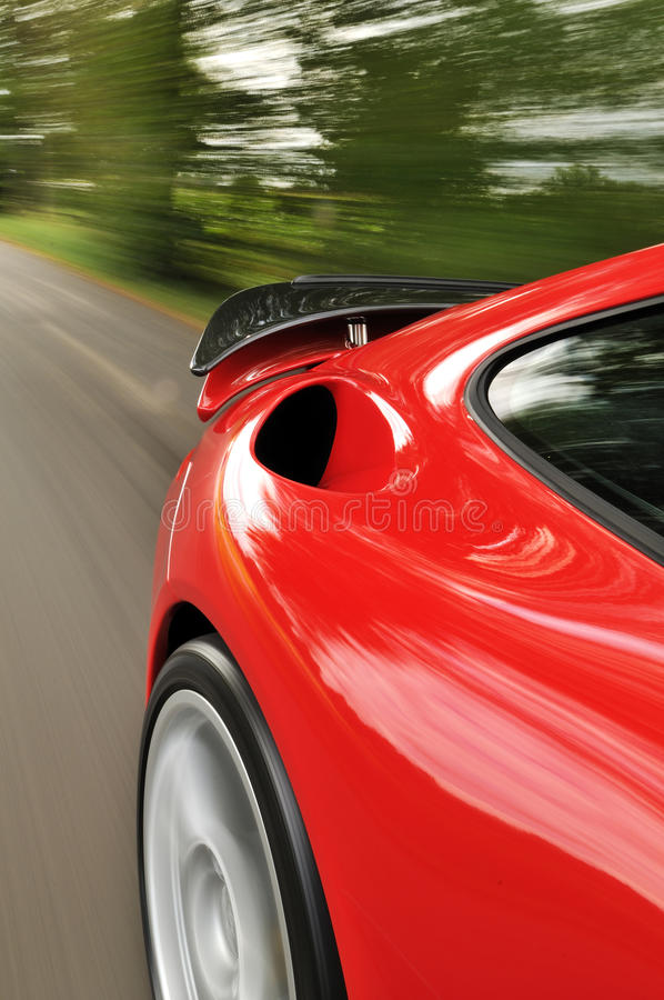 Red car with spoiler royalty free stock images