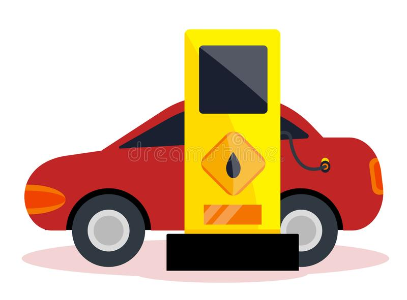 Petrol gas service. Station set. Flat vector illustrations icon. Isolated on white. Attributes of gas station: canister, petrol pump, car repairs, fast food stock illustration