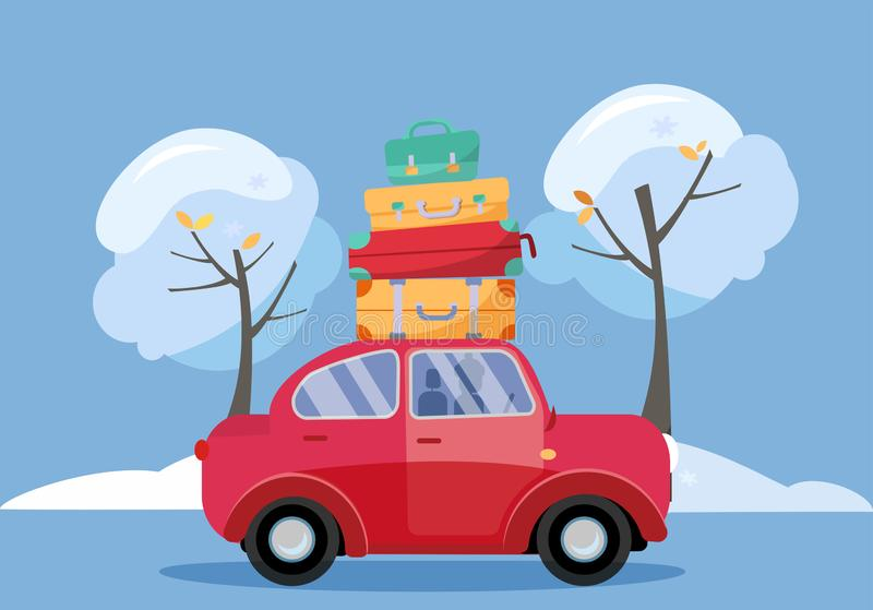 Red car with suitcases on the roof. Winter family traveling by car. Flat cartoon vector illustration. Car Side View With stack of royalty free illustration