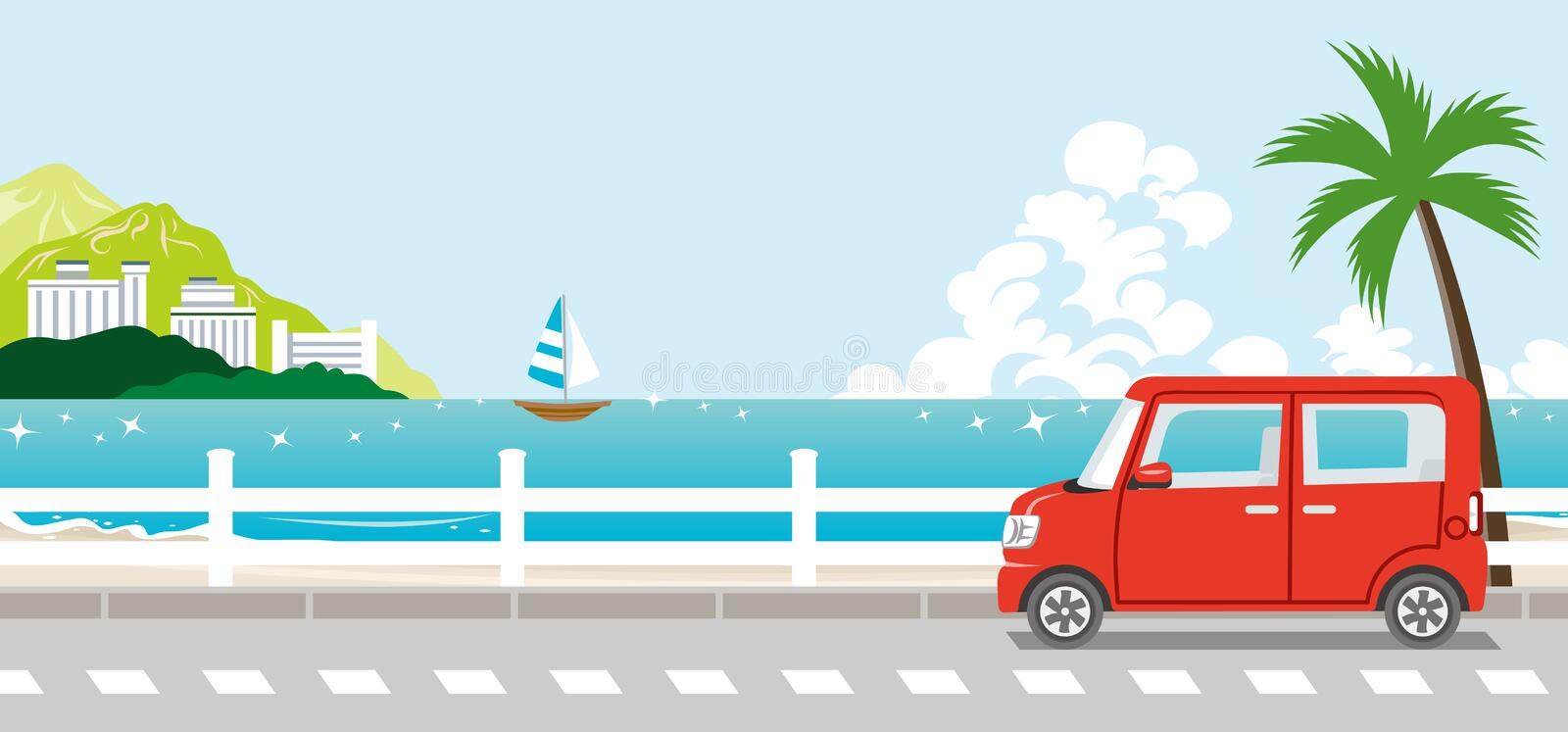 Red Car in summer nature royalty free illustration