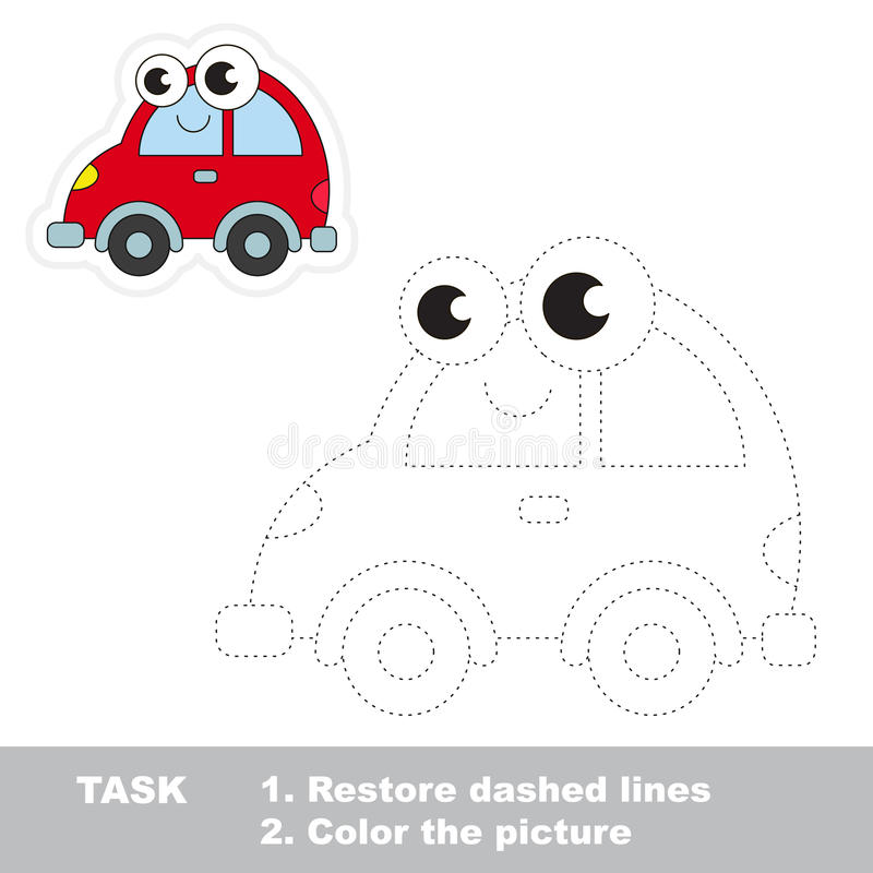 Red Car To Be Traced. Vector Trace Game. Stock Vector - Illustration ...