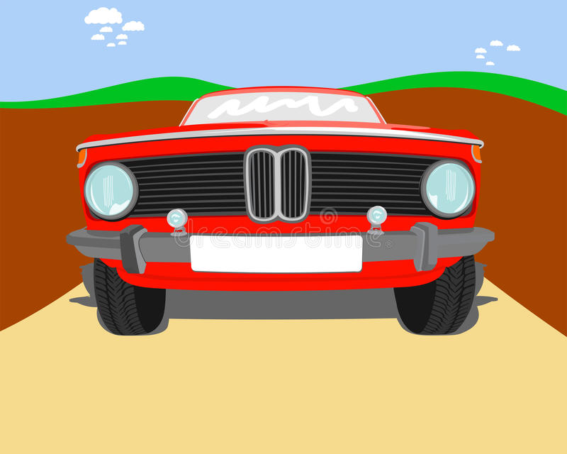 Red Car Vector. Detailed vector of a red old-school car royalty free illustration