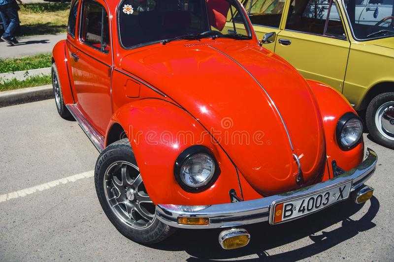 Red car Volkswagen royalty free stock images