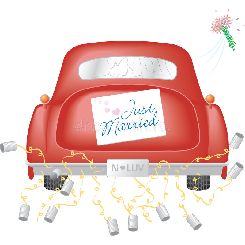 Free Red Car W/ Just Married Sign Royalty Free Stock Image - 3366136