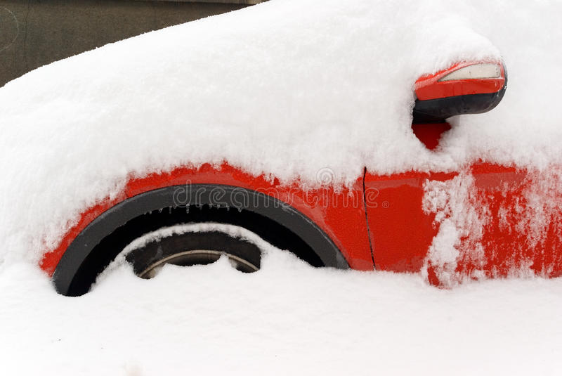 Car winter snow stock photo