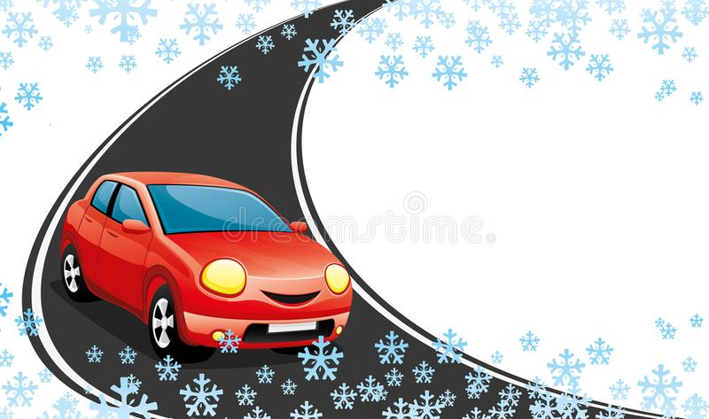 Red car on a winter road. Red car on a winter road on a white background vector illustration
