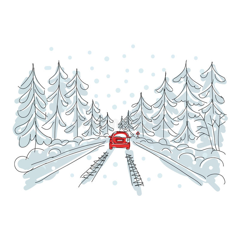 Download Red Car On Winter Road, Sketch For Your Design Stock Vector - Image: 28933884