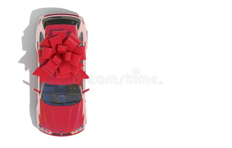 Red car wrapped in a red ribbon bow on a white background. Expensive gift. Top view. 3D render with copy space. Red car wrapped in a red ribbon bow on a white stock images