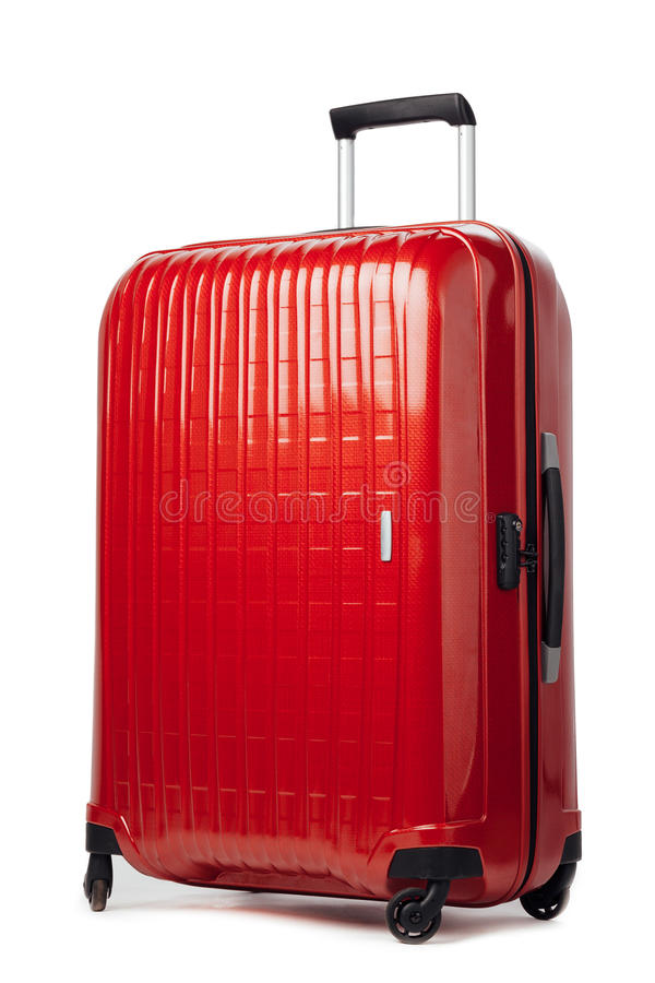 Red carbon suitcase on white royalty free stock image
