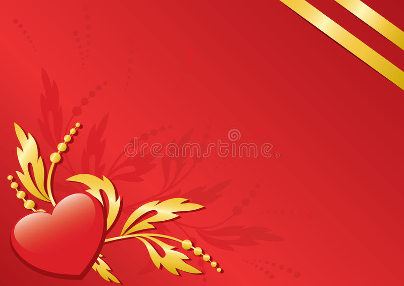 Red card with flora and heart - vector