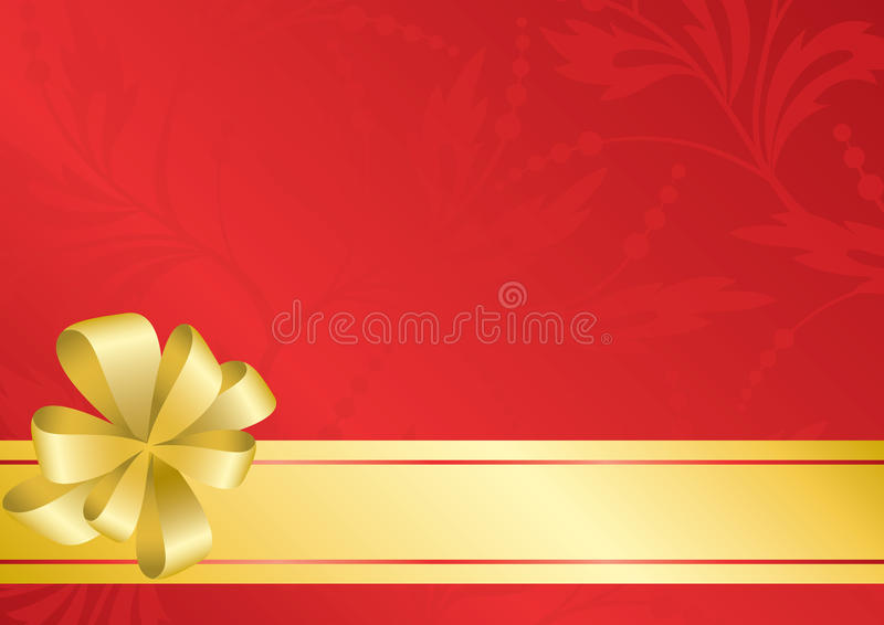 Download Red Card With Golden Bow - Eps Stock Vector - Image: 20159487