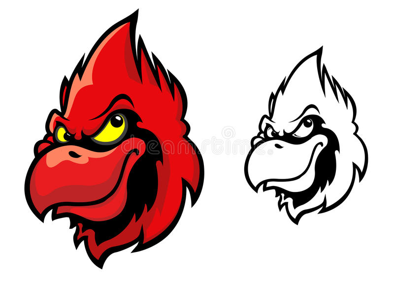 Red cardinal bird. Head in cartoon style for sports mascot design stock illustration