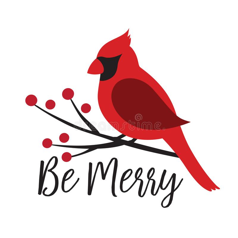 Red Cardinal Bird on a Winterberry Branch stock illustration