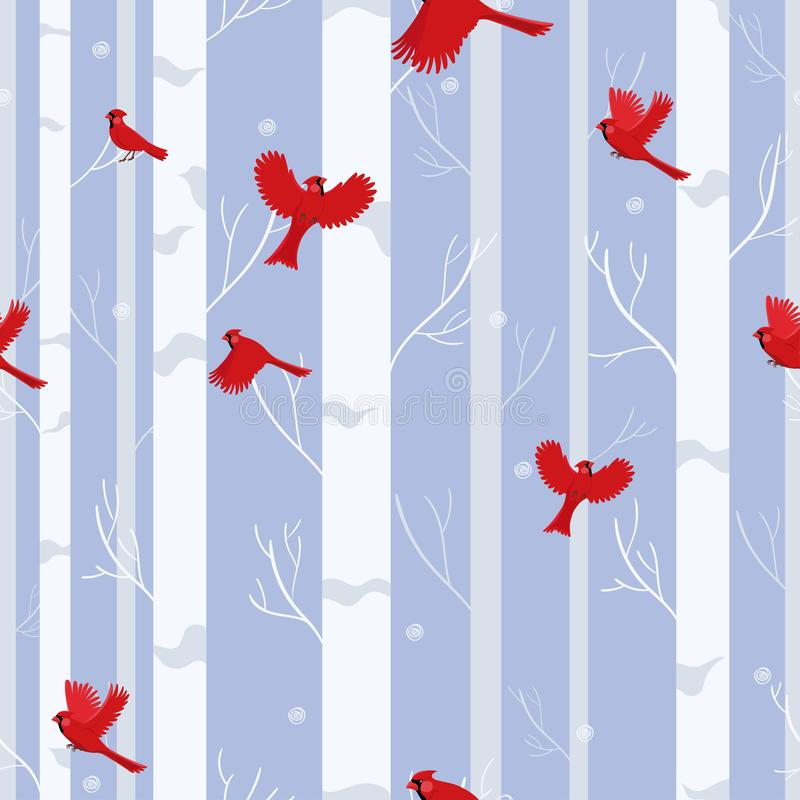 Red cardinal birds seamless pattern in winter forest stock illustration