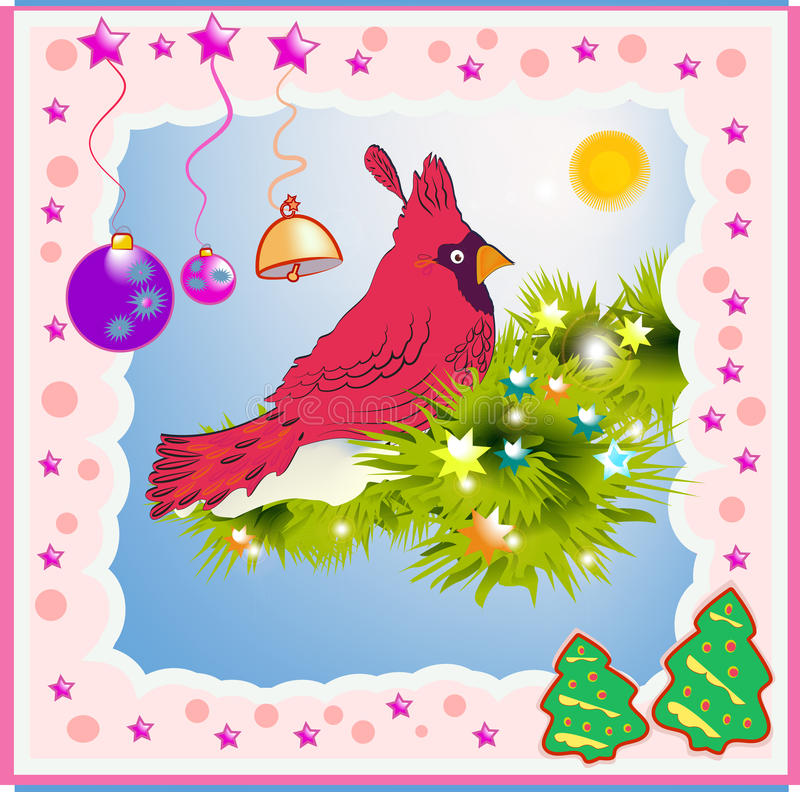 Red Cardinal. In seven states elected North American official symbol. Sign of Christmas holiday stock illustration