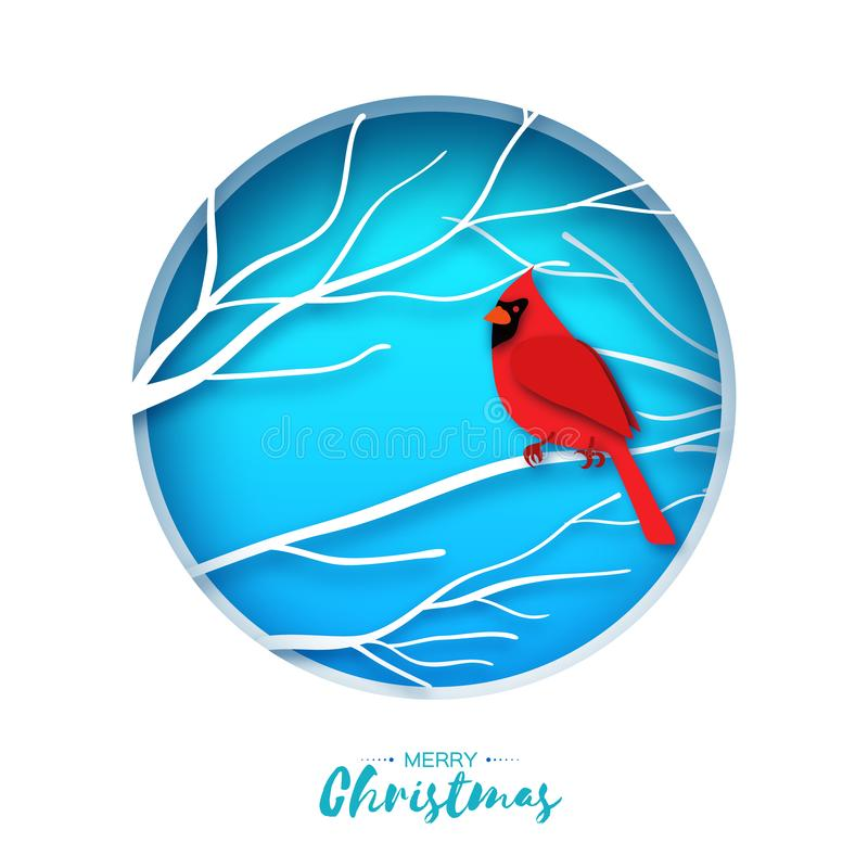 Red cardinal sitting on a branch. Merry Christmas Greeting Card.Bird sitting on a birches branch in paper cut style. Origami Fall winter. Happy holidays. Blue vector illustration
