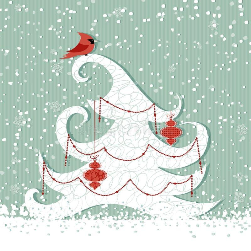 Red cardinal on tree stock illustration