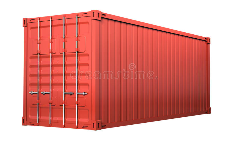 Red cargo container. Isolated on white background vector illustration