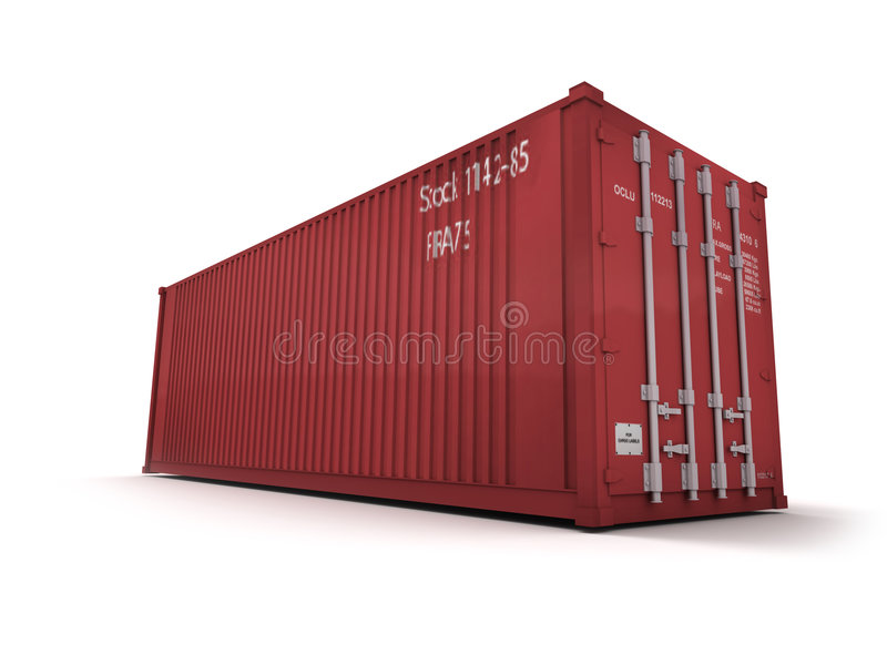 Red cargo container. Against a white background stock illustration