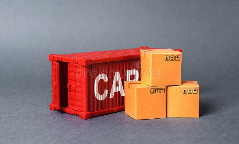 Red cargo container with boxes. The concept of commerce and trade, cargo delivery, exchange of goods. Globalization. Performance. Efficient production. Business stock photo
