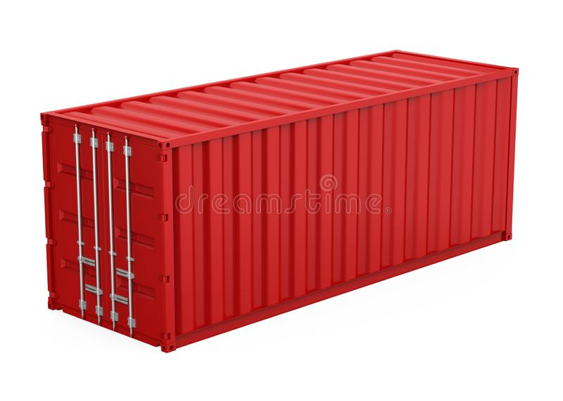 Red Cargo Container Isolated. On white background. 3D render stock illustration