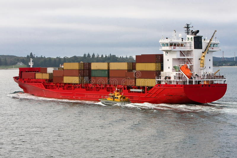 Download Red Cargo Container Ship At Sea. Stock Image - Image: 21809187