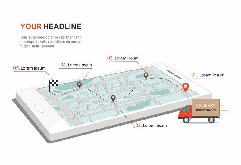 Red Cargo Delivery transporation Business infographic with transport on smartphone. Isometric. Vector Illustration royalty free illustration