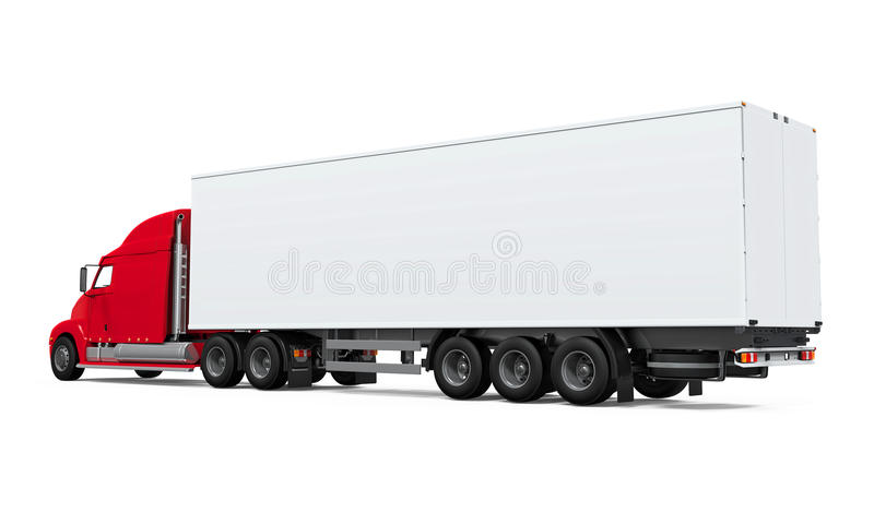 Red Cargo Delivery Truck. Isolated on white background. 3D render vector illustration