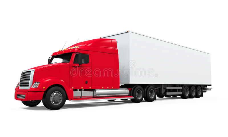 Red Cargo Delivery Truck. Isolated on white background. 3D render royalty free illustration