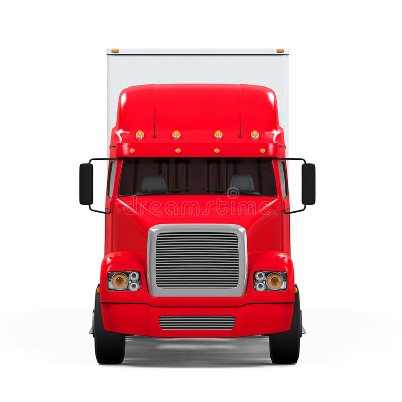 Red Cargo Delivery Truck. Isolated on white background. 3D render stock illustration