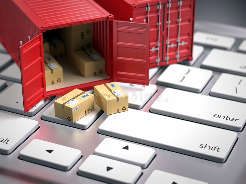 Red cargo freight shipping container on computer keyboard. Cargo shipping logistic concept stock image