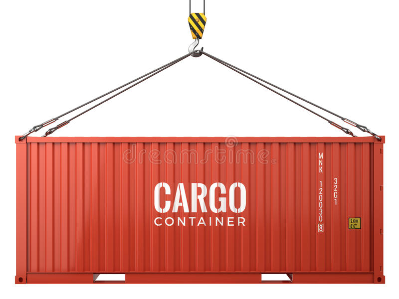 Red cargo freight shipping container isolated on white background royalty free illustration