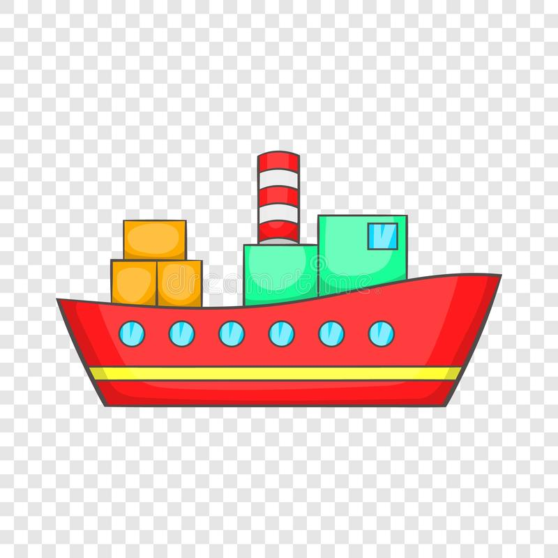 Red cargo ship icon, cartoon style. Red cargo ship icon in cartoon style on a background for any web design vector illustration