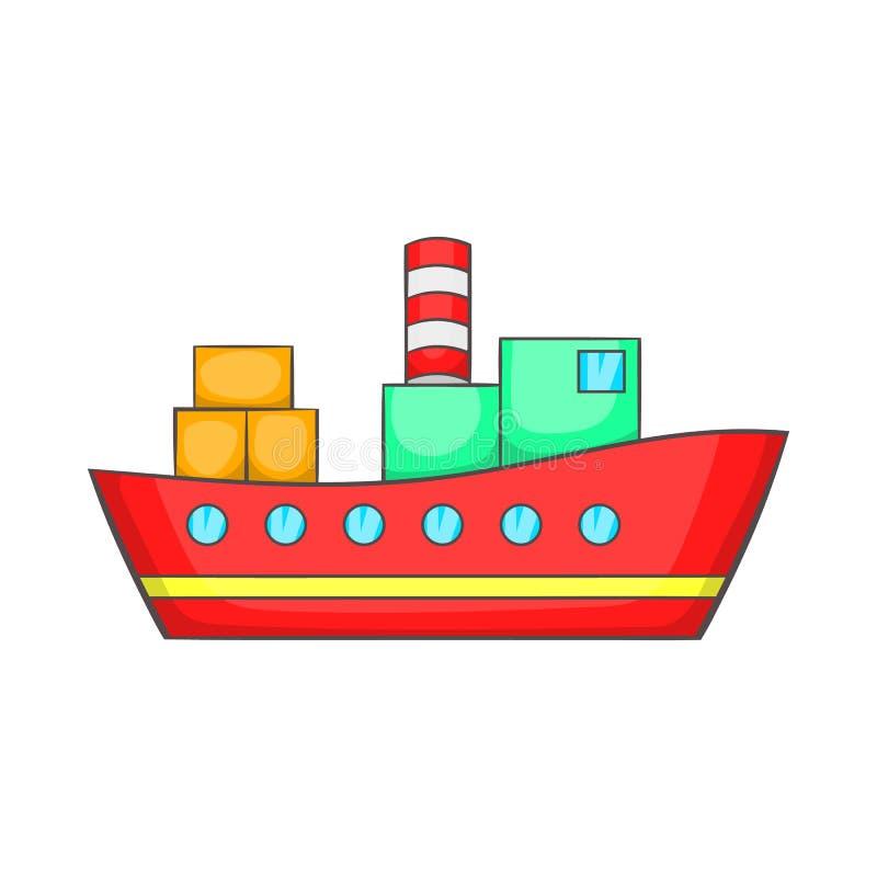 Red Cargo Ship Icon, Cartoon Style Stock Vector ...