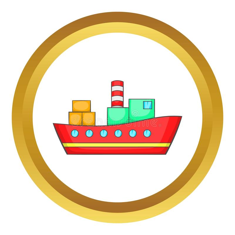 Red cargo ship icon. In golden circle, cartoon style isolated on white background stock illustration