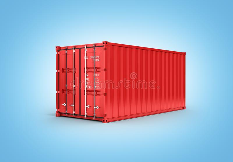 Red cargo shipping container without inscription on blue gradient background 3d without shadow. Red cargo shipping container without inscription on blue gradient royalty free illustration