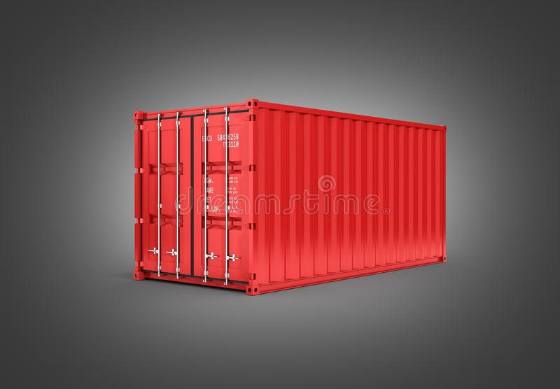 Red cargo shipping container without inscription on grey gradient background 3d without shadow. Red cargo shipping container without inscription on grey gradient royalty free illustration